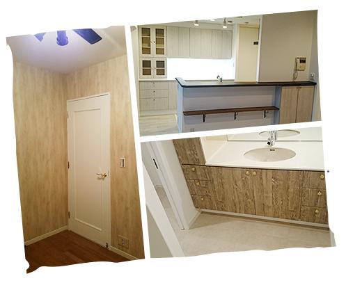 玄関ドアやキッチンは古材柄をアクセントに、ビンテージ感をプラス